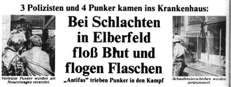 """""""Antifas trieben Punker in den Kampf"""" Die Wuppertaler Presse und ihr Feindbild."""